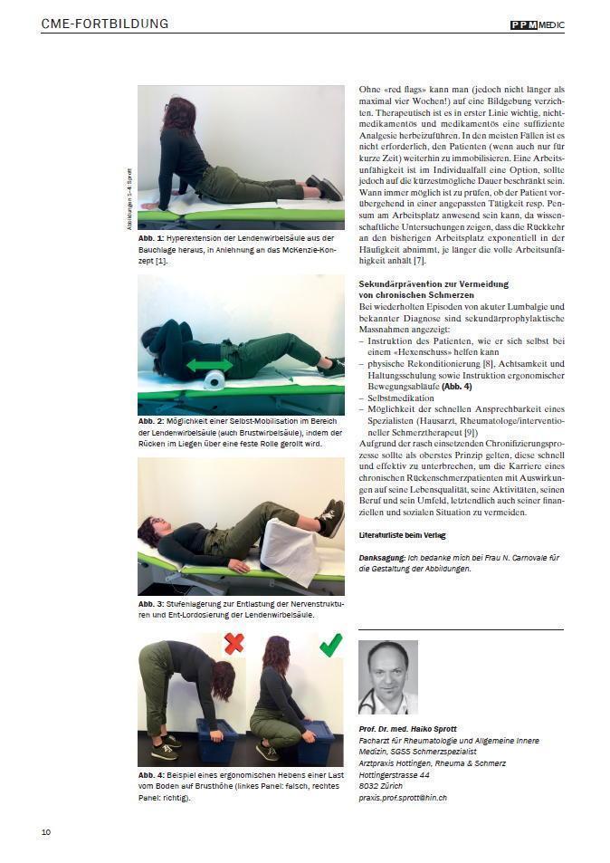 Arztpraxis Prof. Sprott, Zürich, Praxis für Rheuma & Schmerz, Hexenschuss