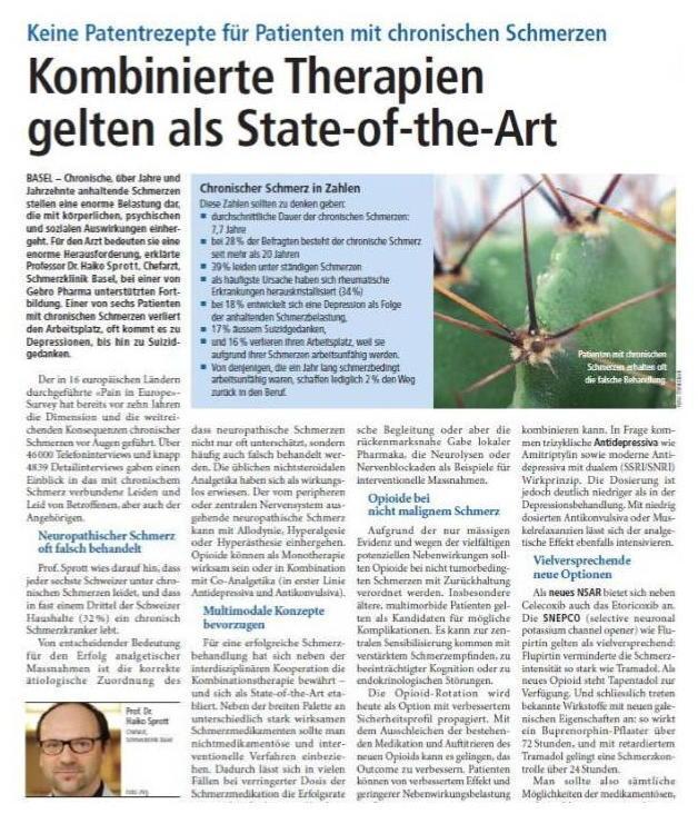 Arztpraxis Prof. Sprott, Zürich, Praxis für Rheuma & Schmerz, Schmerztherapie