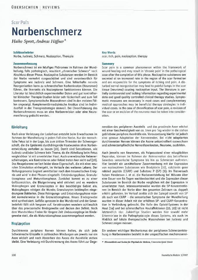 Arztpraxis Prof. Sprott, Zürich, Praxis für Rheuma & Schmerz, Narbenschmerz