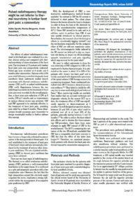 Arztpraxis Prof. Sprott, Zürich, Praxis für Rheuma & Schmerz, Publikation bei Rückenschmerzen