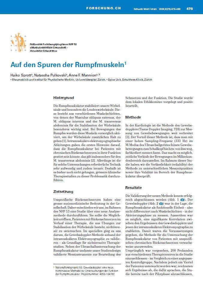Arztpraxis Prof. Sprott, Zürich, Praxis für Rheuma & Schmerz, Rumpfmuskeln