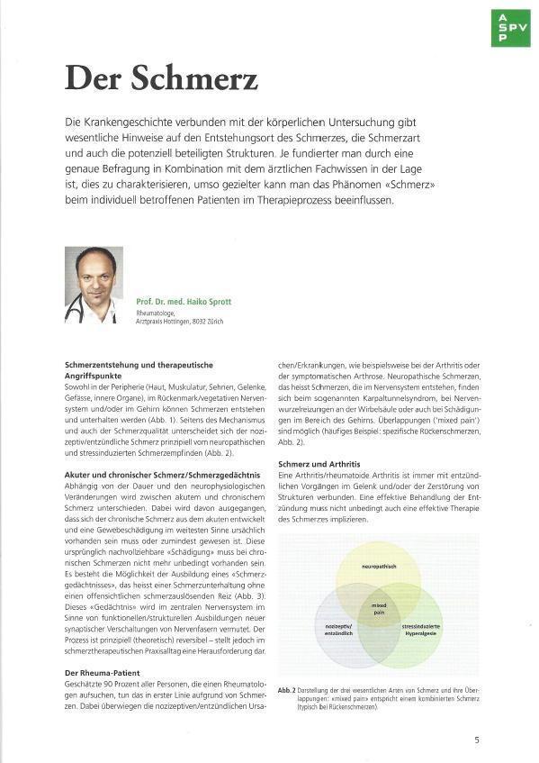 Arztpraxis Prof. Sprott, Zürich, Praxis für Rheuma & Schmerz, Schmerz