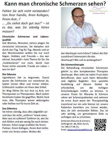 Arztpraxis Prof. Sprott, Zürich, Praxis für Rheuma & Schmerz, Schmerz, Publikation