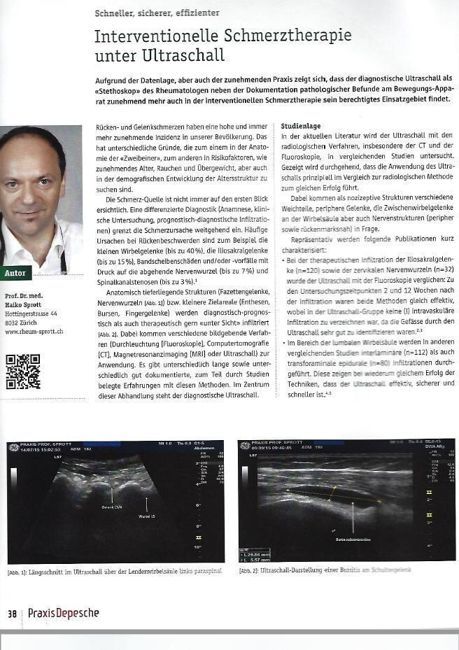 Arztpraxis Prof. Sprott, Zürich, Praxis für Rheuma & Schmerz, Schmerztherapie unter Ultraschall