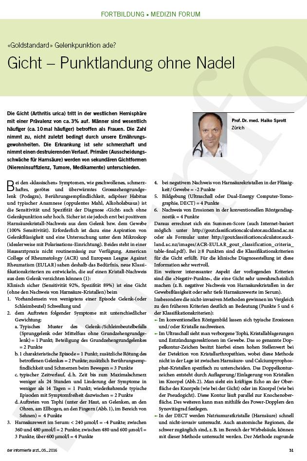 Arztpraxis Prof. Sprott, Zürich, Praxis für Rheuma & Schmerz, Gicht