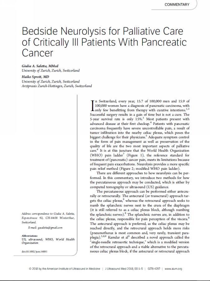Neurolyse mittels ultraschall-unterstützter Punktion bei Pankreas-Karzinom als palliative Schmerztherapie