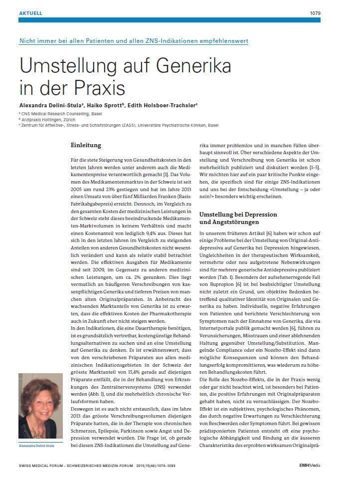 Arztpraxis Prof. Sprott, Zürich, Praxis für Rheuma & Schmerz, Generika